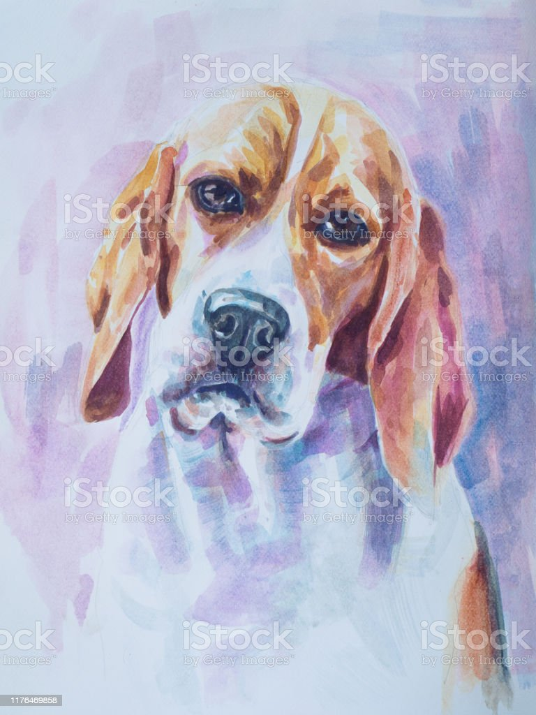 Beagle Dog Painting On White Fabric Stock Illustration Download Image Now Istock