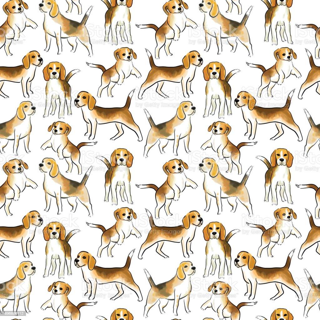 perro beagle sin costura - ilustración de arte vectorial