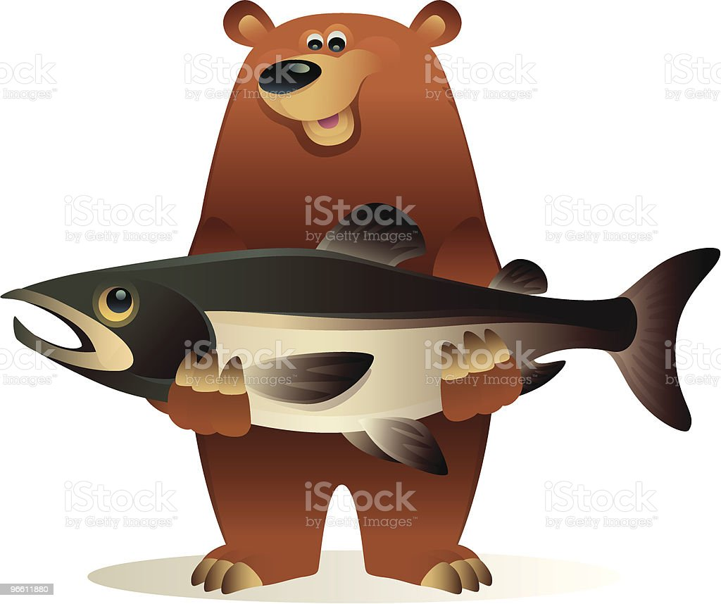 bear caught salmon - Royalty-free Animal stock vector