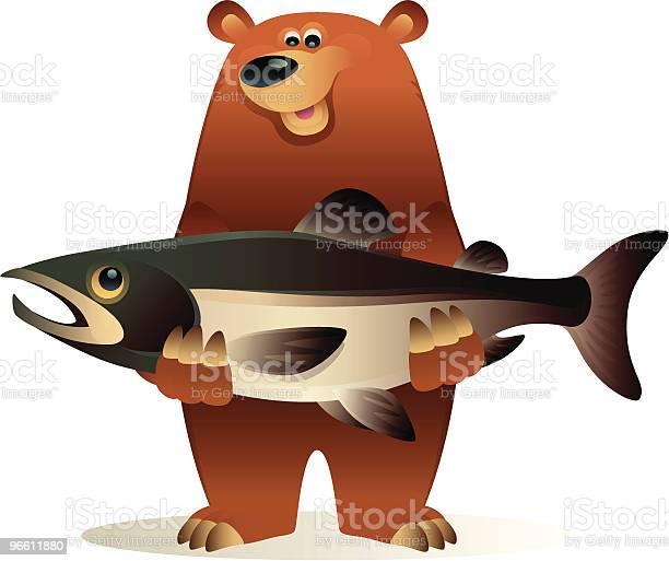 Bear Caught Salmon-vektorgrafik och fler bilder på Digitalt genererad bild