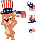 Bear celebrating Independence day