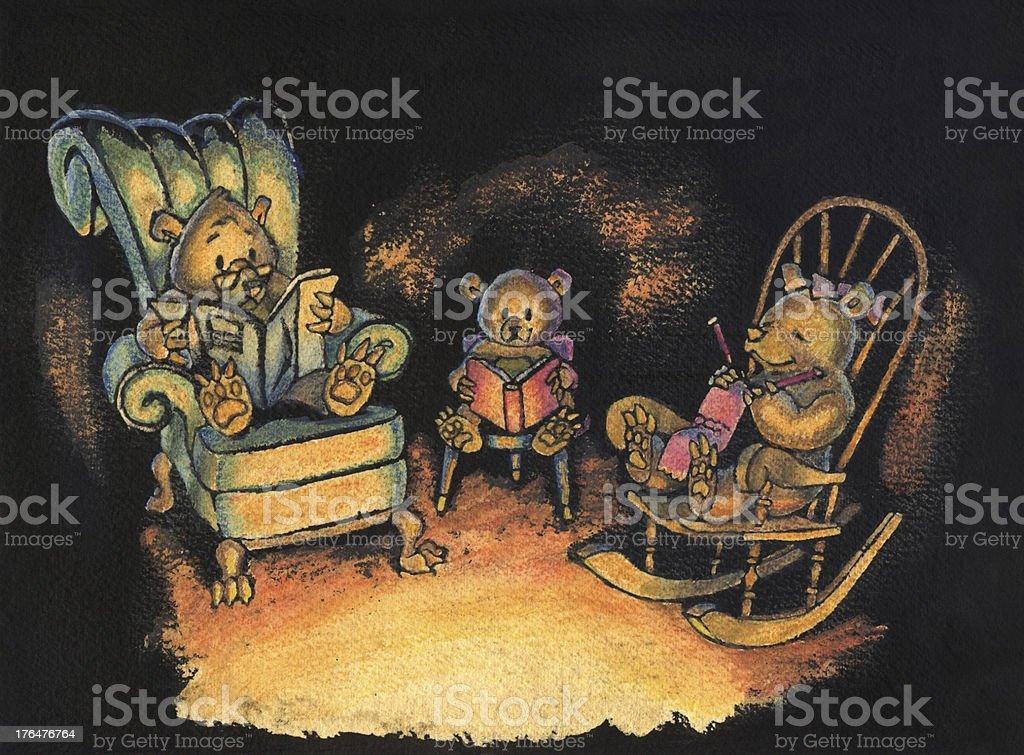 Bear Family sitting together Illustration vector art illustration