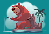 bear fishing with wolf on island