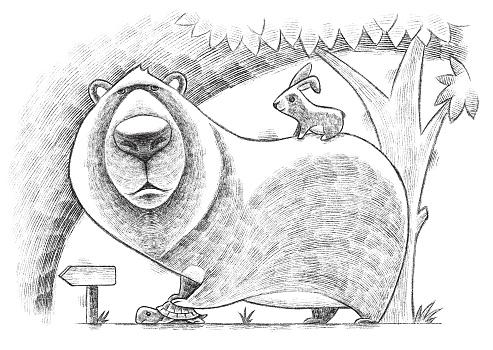 digital painting / raster illustration of bear holding tortoise with rabbit