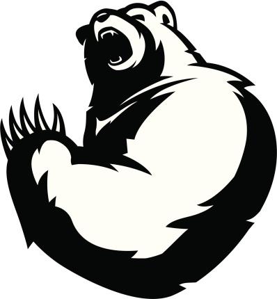 Bear mascot B&W
