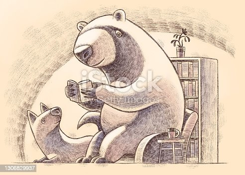digital painting / raster illustration of bear sitting on armchair and reading book