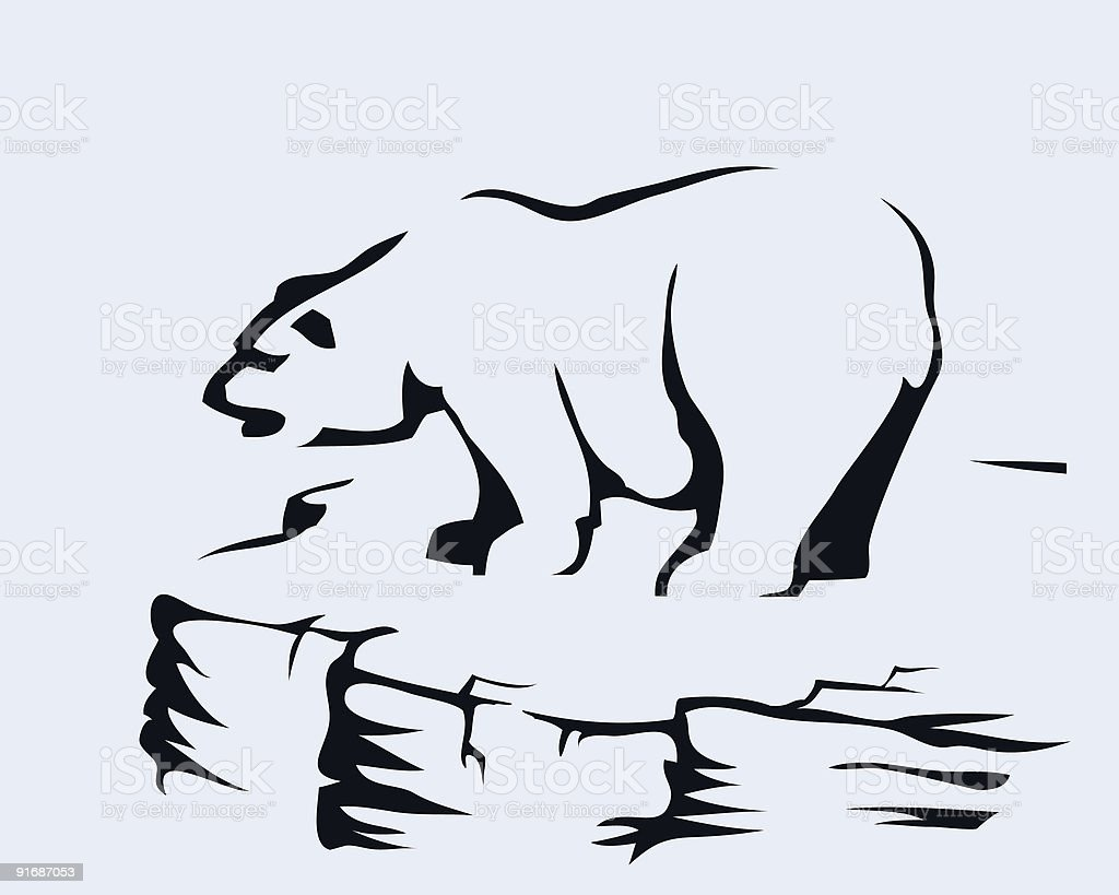 Bear standing on a rock (cartoon style sketch) royalty-free stock vector art