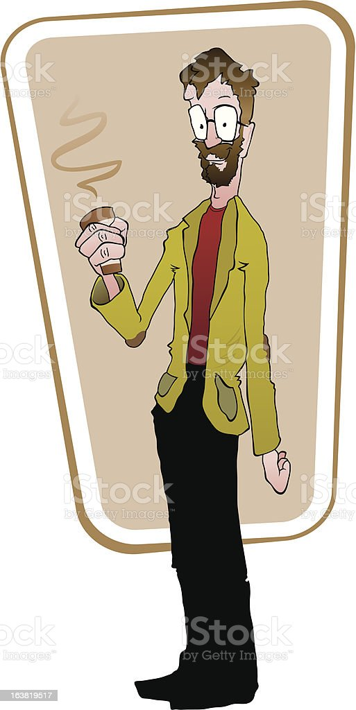 Bearded professor-looking man holding a hot cup of coffee. royalty-free bearded professorlooking man holding a hot cup of coffee stock vector art & more images of adult