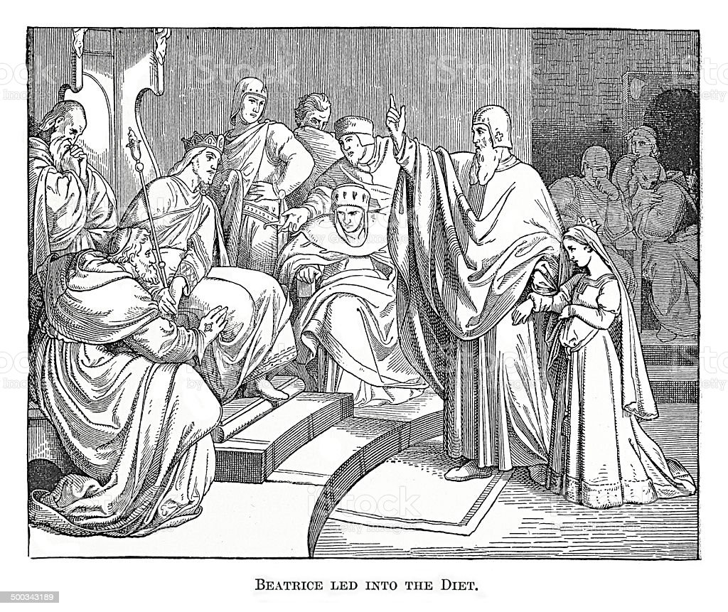 Beatrice led into the Diet (antique engraving) vector art illustration