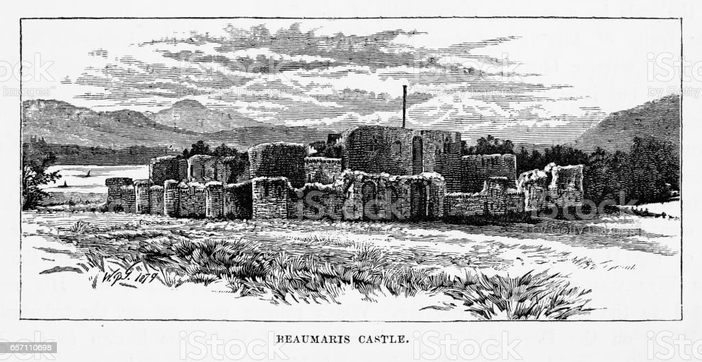 Beaumaris Castle in Beaumaris, Wales Victorian Engraving, 1840 vector art illustration