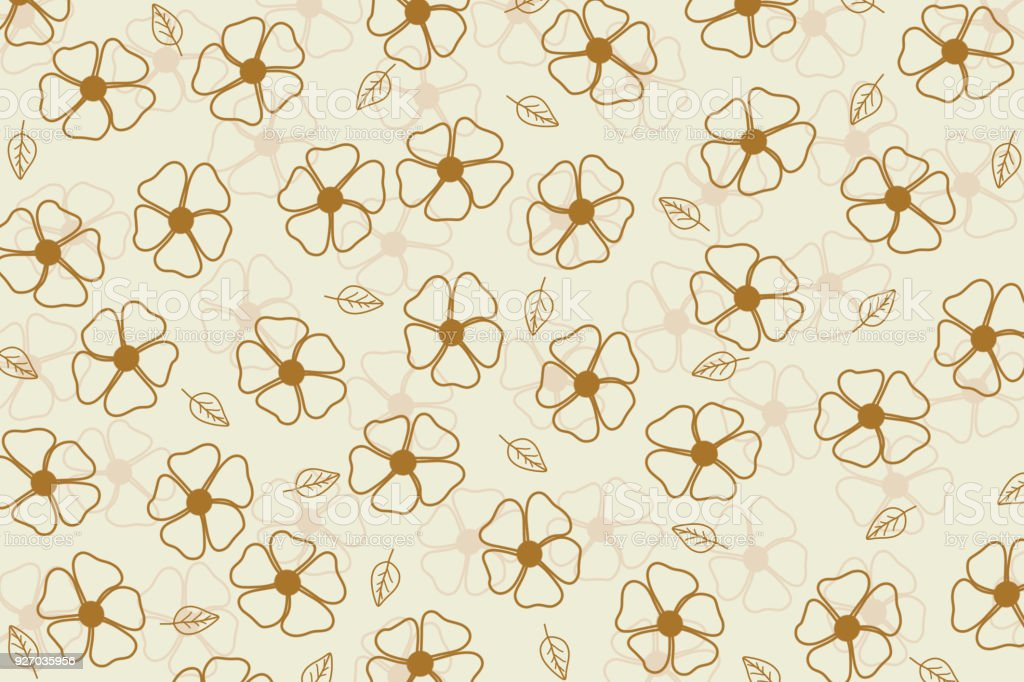 Beautiful And Cute Brown Flowers And Leaves Pattern On Beige