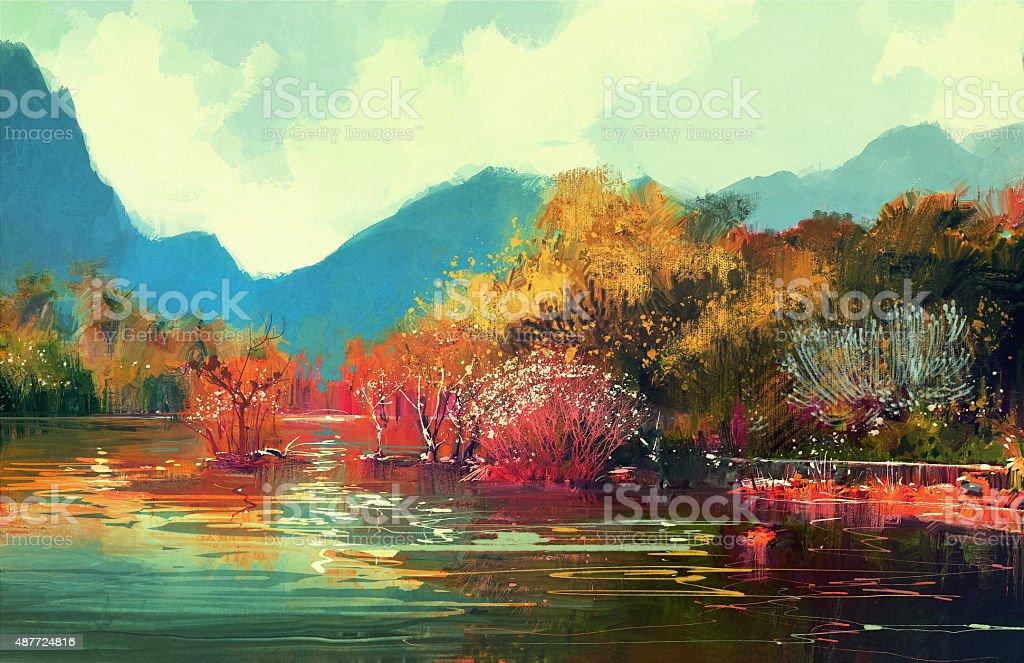 beautiful autumn forest vector art illustration
