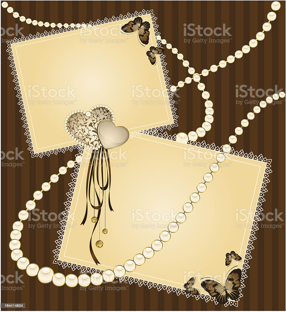 Beautiful background with beads and butterflies. Vector royalty-free stock vector art