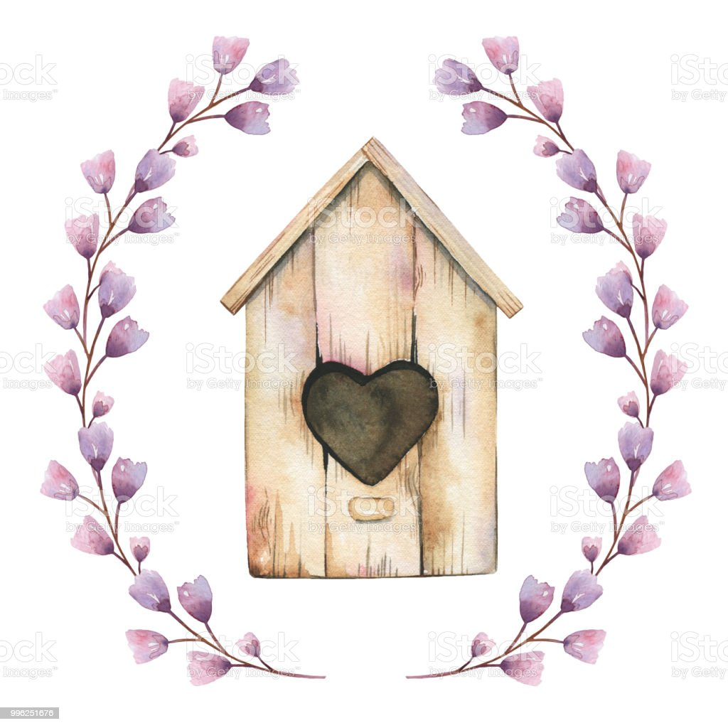 Beautiful Birdhouse With Purple Flowers Frame Made Of Watercolor