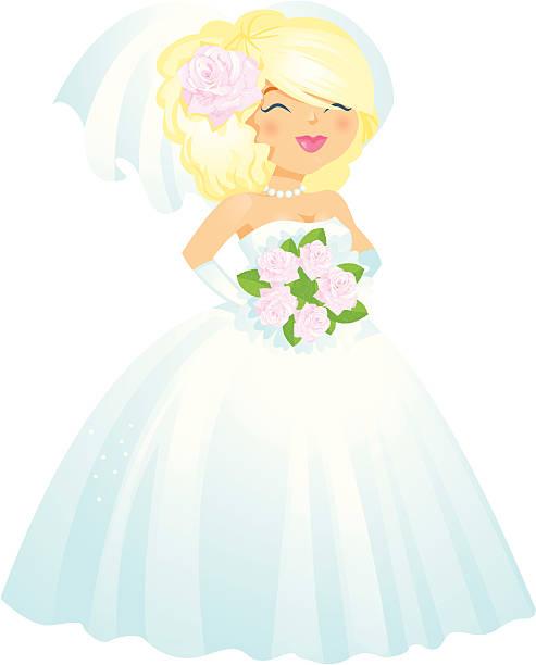 wunderschöne blonde braut - perlenstrauß stock-grafiken, -clipart, -cartoons und -symbole