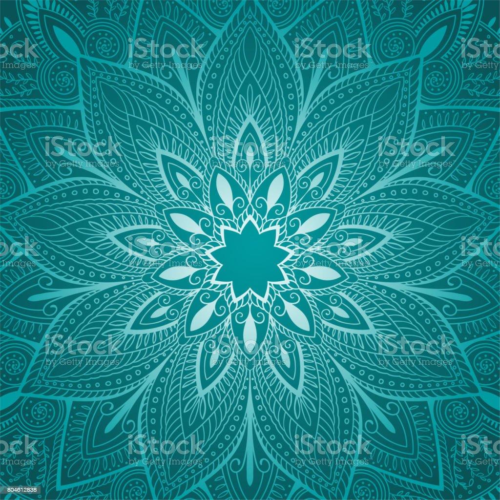 beautiful blue mandala floral background Rasterized copy. vector art illustration