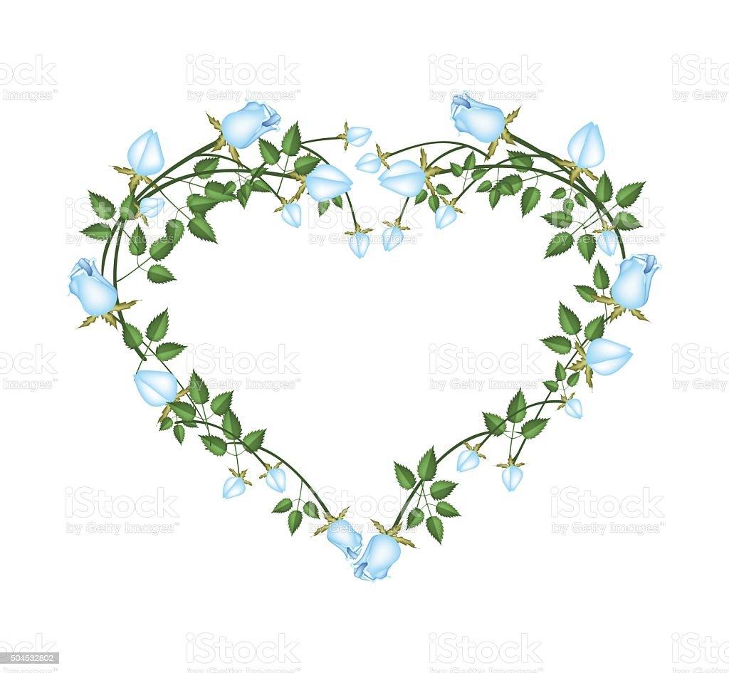 Ilustración De Rosas Azules De Hermosas Flores En Forma De Corazón Y