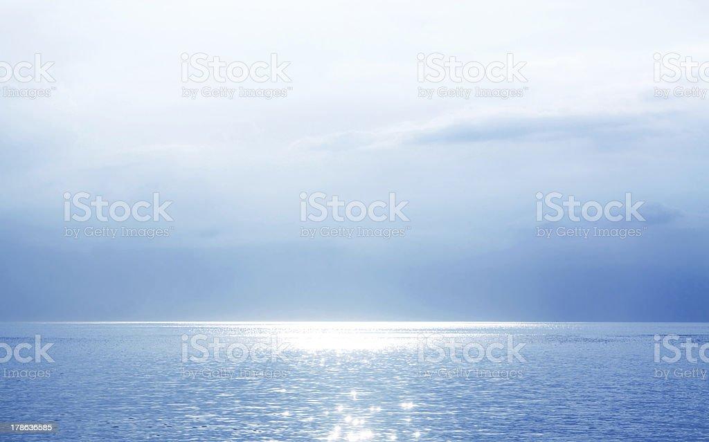 Beautiful Blue Seascape vector art illustration