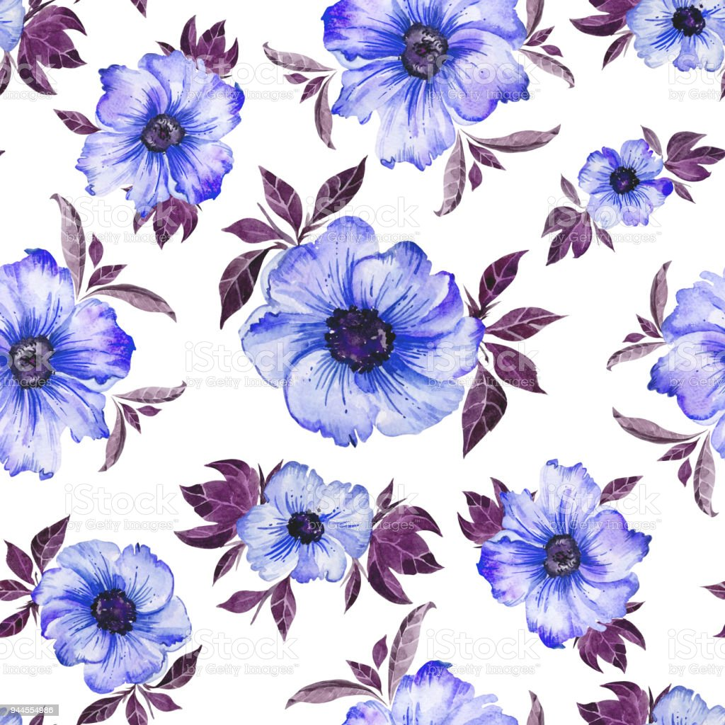 Beautiful Blue Simple Flowers With Purple Leaves On White Background