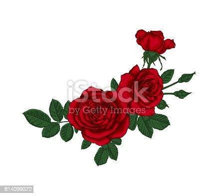 sch ner blumenstrau mit roten rosen und bl tter blumenarrangement stock vektor art und mehr. Black Bedroom Furniture Sets. Home Design Ideas
