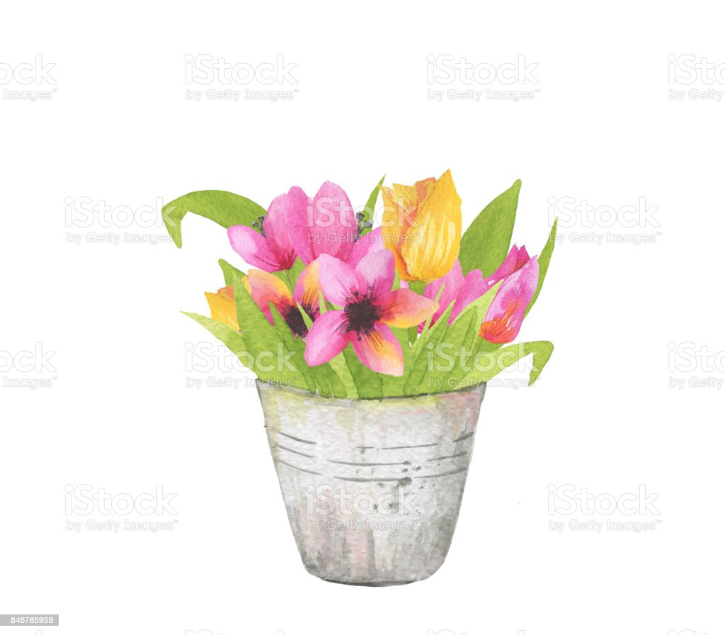 Beautiful Bouquet With Spring Pink And Yellow Flowers In Blossom