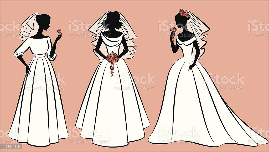 Beautiful brides in dress. Vector royalty-free stock vector art