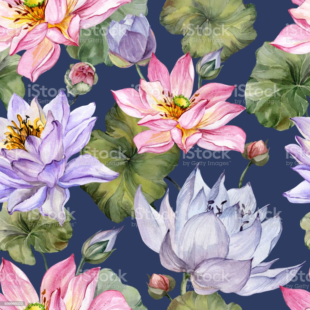 Beautiful Bright Floral Seamless Pattern Purple And Pink Lotus