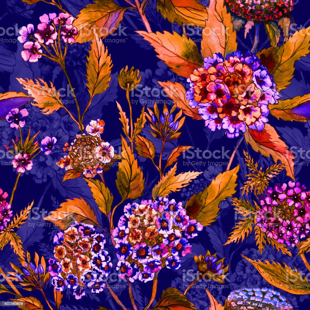 Beautiful Bright Flowers With Orange Leaves On Dark Blue Background