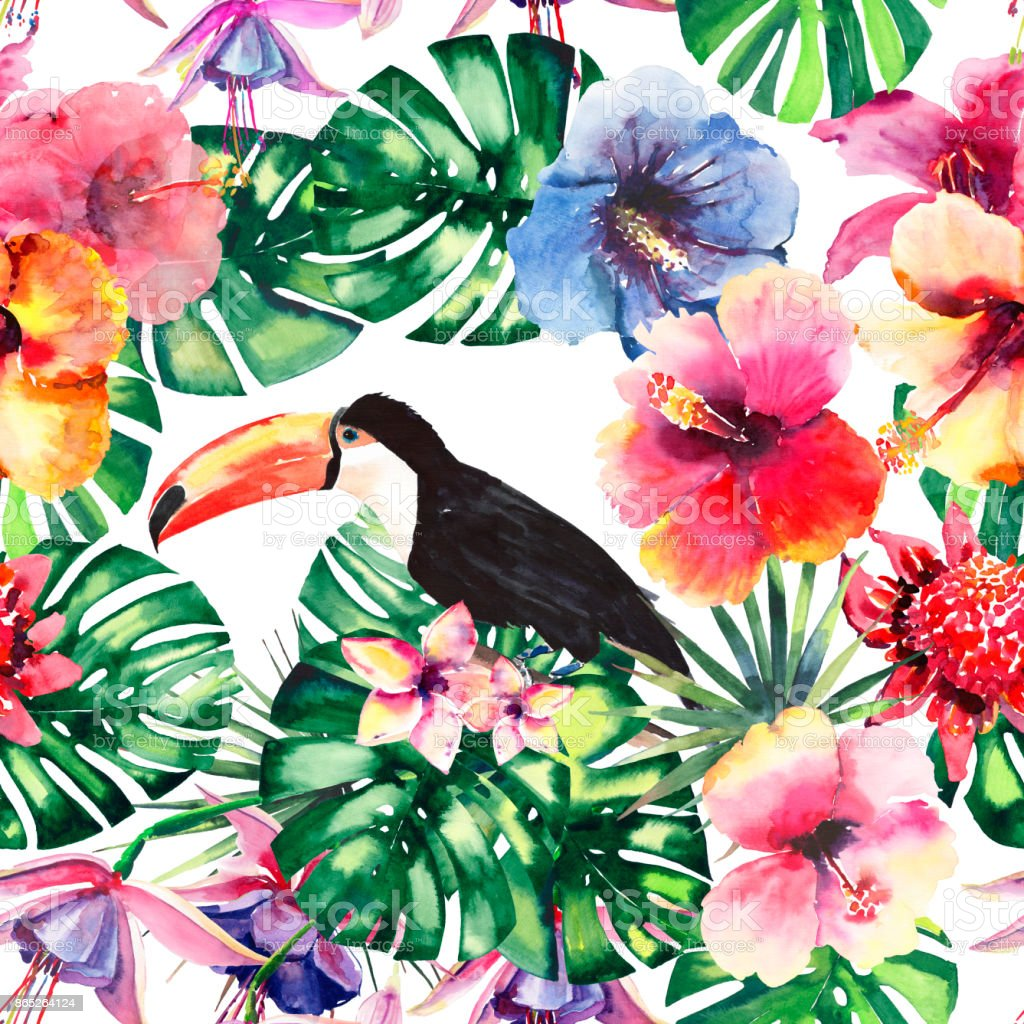 Beautiful bright lovely colorful tropical hawaii floral herbal summer pattern of tropical flowers hibiscus and orchids, palms leaves and tropical toucans watercolor hand sketch vector art illustration