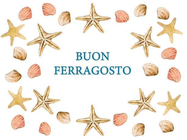 illustrazioni stock, clip art, cartoni animati e icone di tendenza di beautiful card for italian holiday. top view - ferragosto