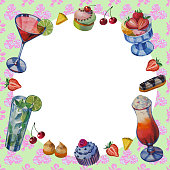 istock Beautiful cards. Hand drawn watercolor sweets and cakes 1028853392
