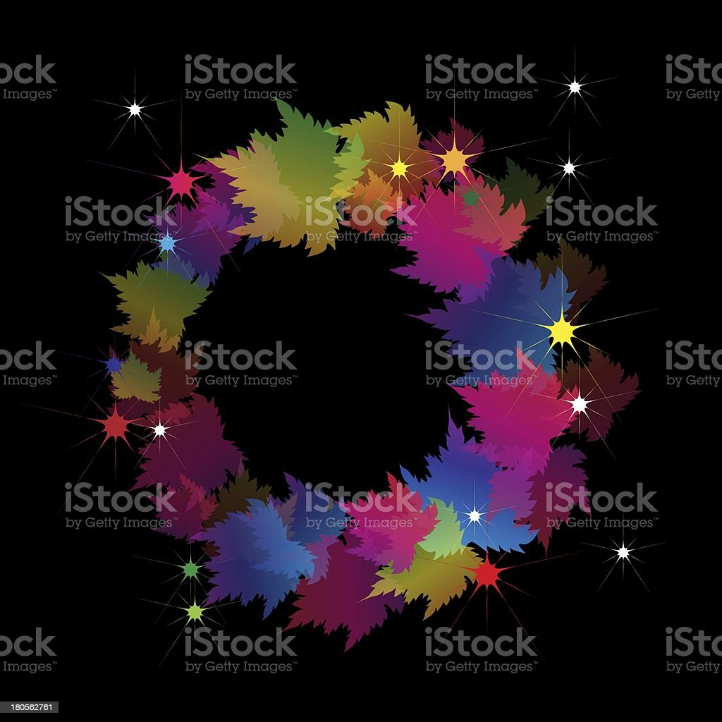 Beautiful Colorful Wreath Made From Maple Leaves royalty-free stock vector art