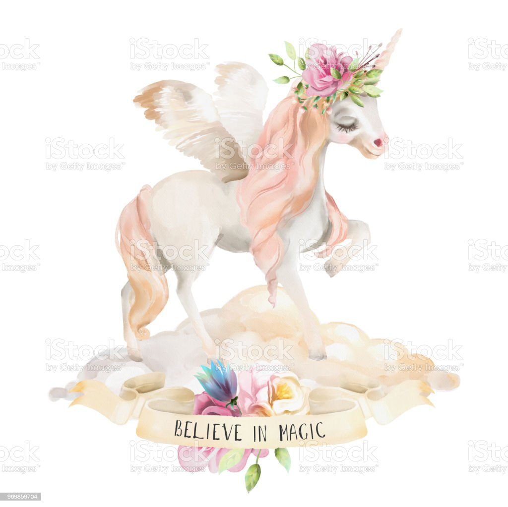 Beautiful Cute Watercolor Dreaming Unicorn Pegasus With Wings And Flowers Floral Crown