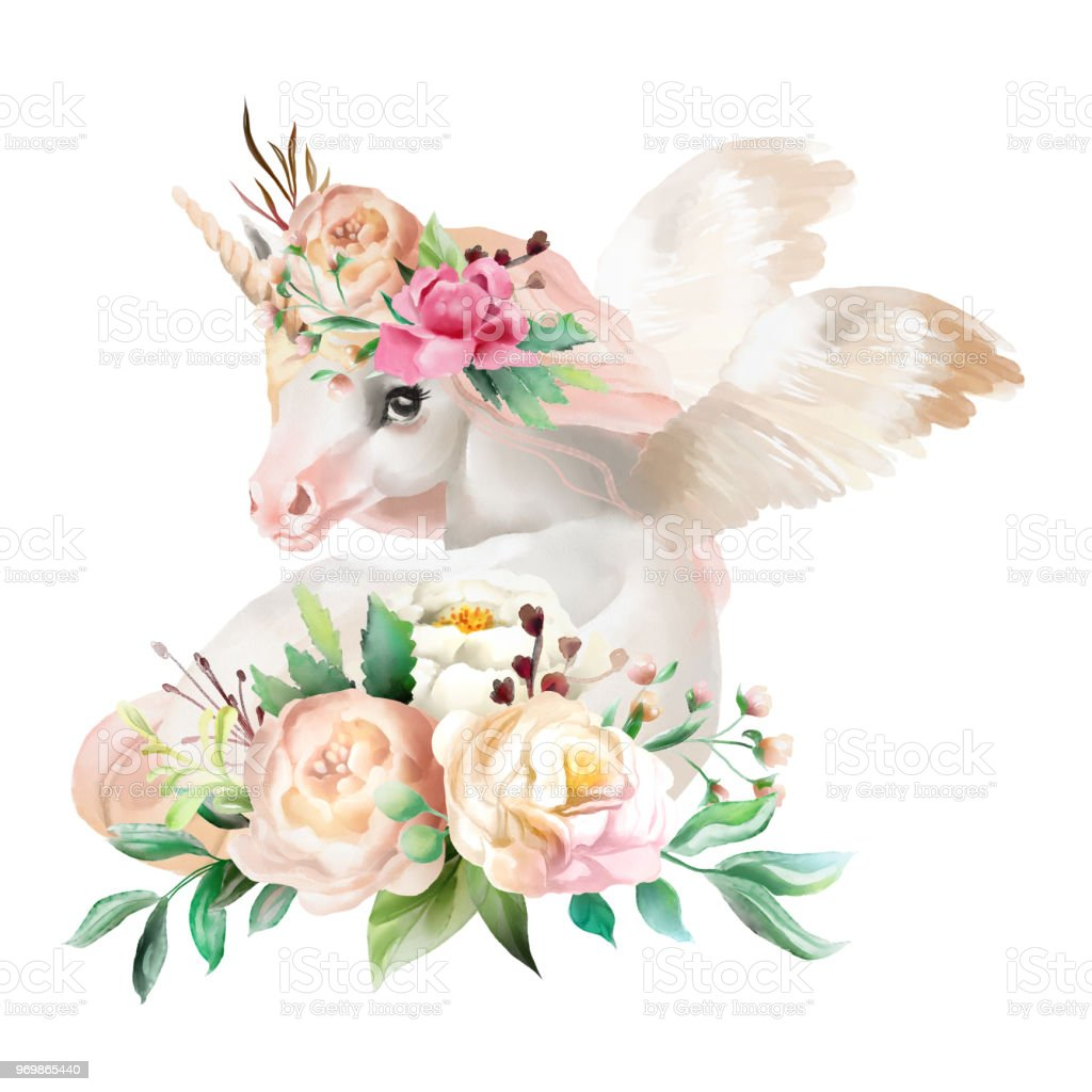 sch n niedlich aquarell tr umen einhorn pegasus mit fl geln und blumen florale krone bouquet. Black Bedroom Furniture Sets. Home Design Ideas