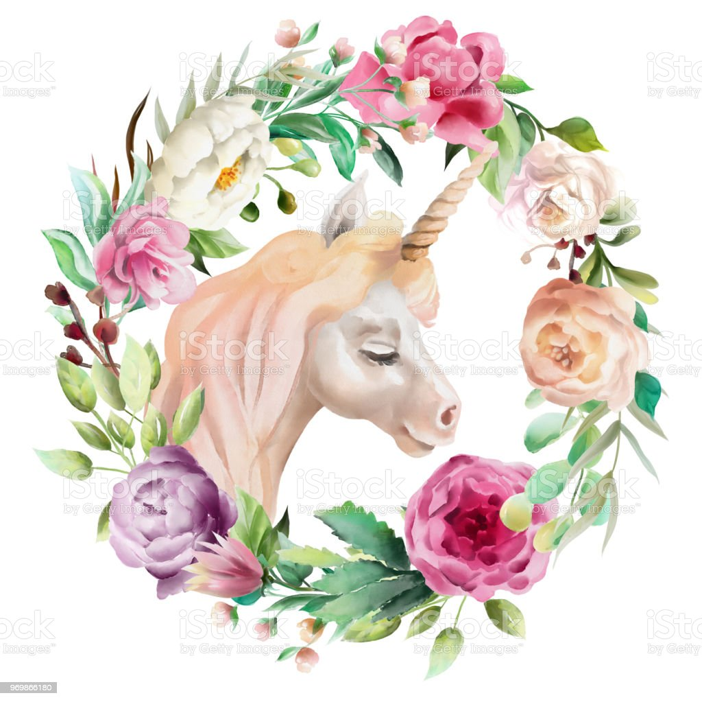 Beautiful Cute Watercolor Unicorn Head With Flowers Floral Crown