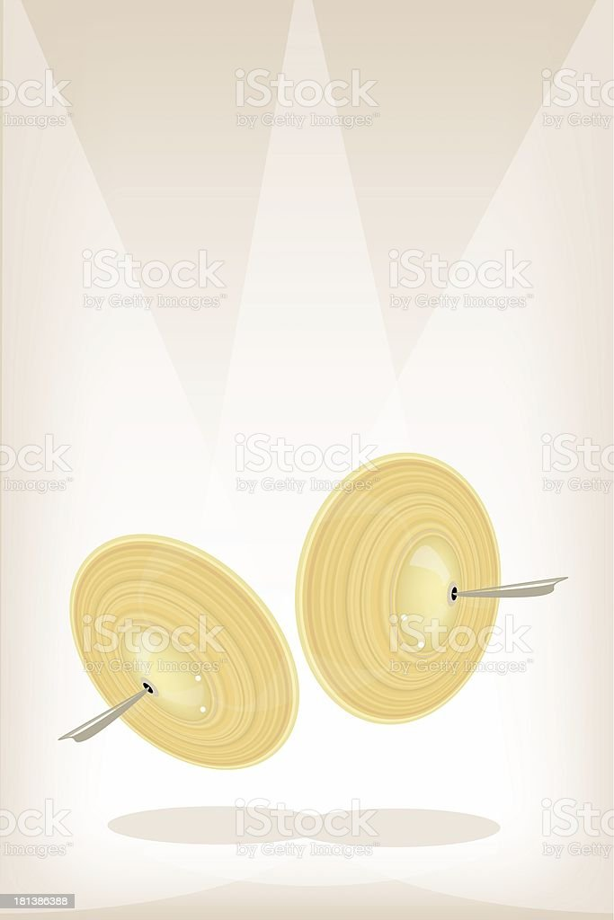 Beautiful Cymbal on Brown Stage Background vector art illustration