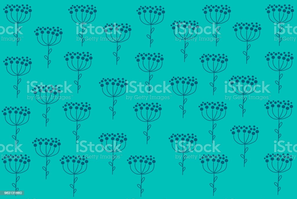 Beautiful deep blue flower pattern on pastel blue background in abstract minimal style with botanicals concept look so fresh and lovely use for wallpaper and other design. Hand drawing illustration. vector art illustration