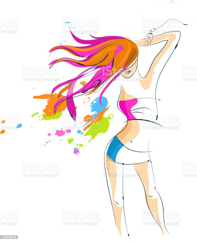 Beautiful disco dancer vector art illustration