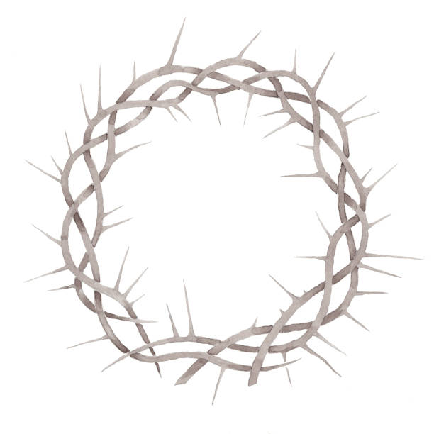 Beautiful elegant watercolor crown of thorns illustration print isolated on white vector art illustration