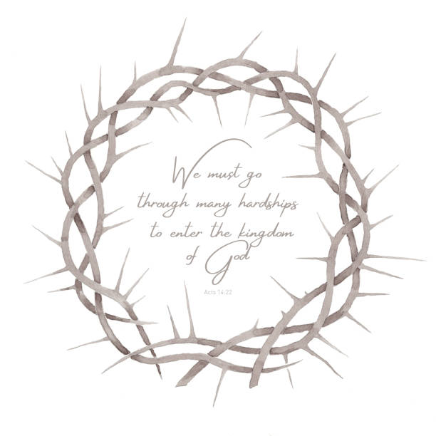 Beautiful elegant watercolor crown of thorns illustration with strengthen inspiring comforting Bible quote vector art illustration