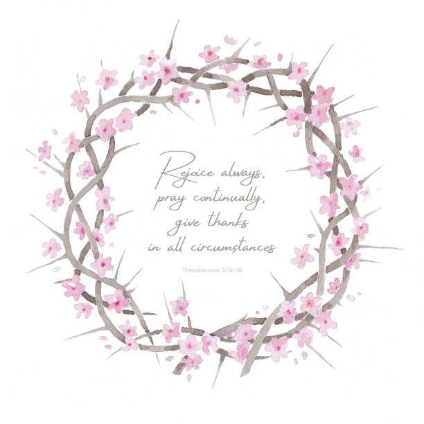 Beautiful elegant watercolor crown of thorns resurrection illustration with inspiring comforting Bible quote vector art illustration