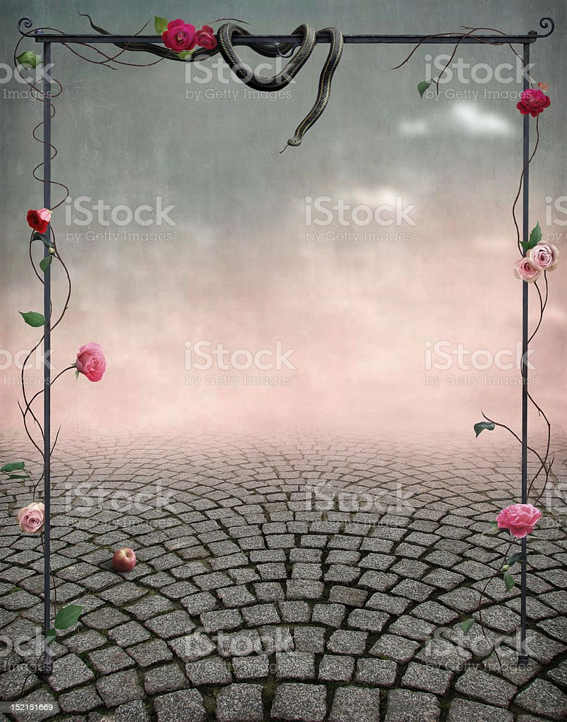 Beautiful fairytale backdrop for postcards royalty-free stock vector art