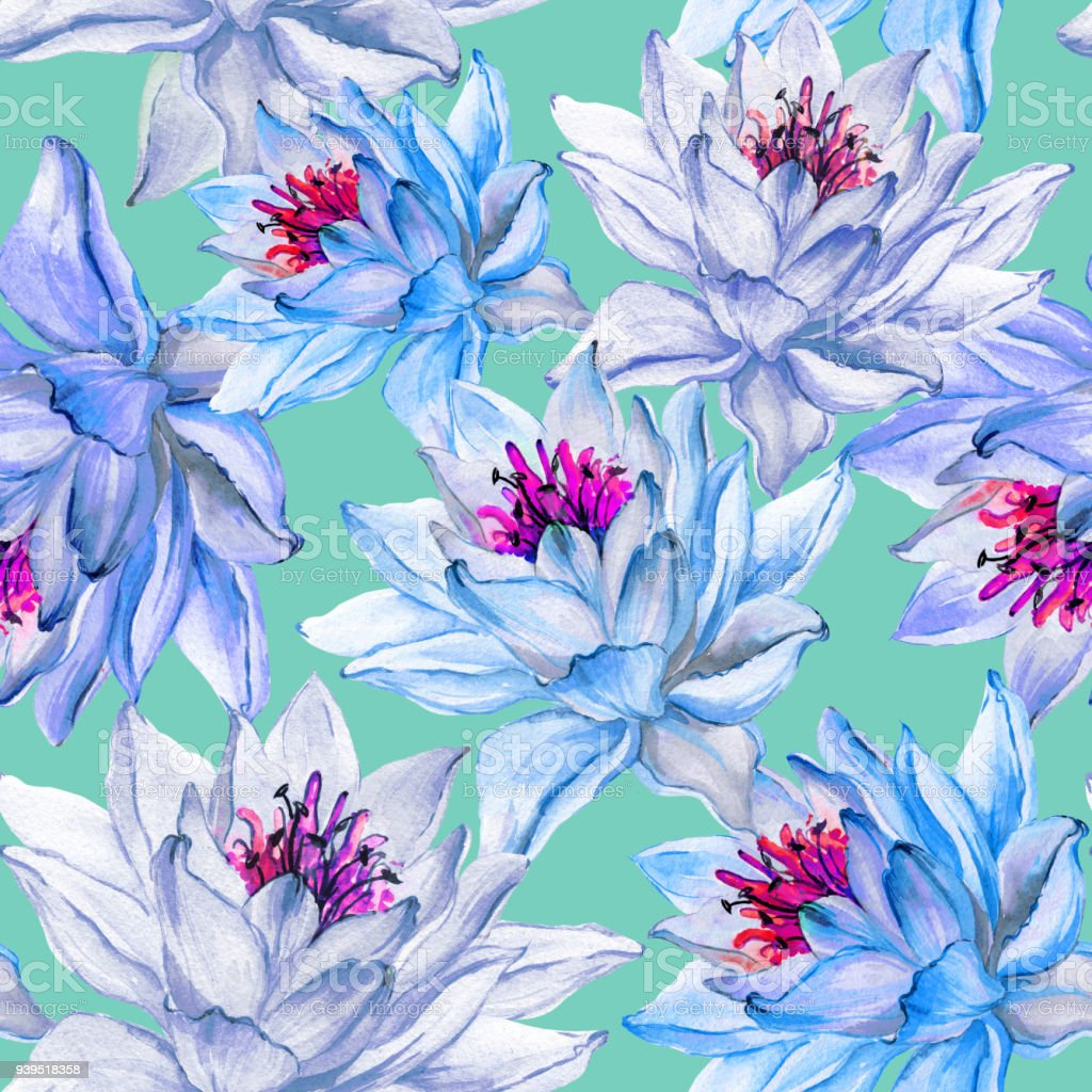 Beautiful Floral Seamless Pattern Large Blue Lotus Flowers On Light