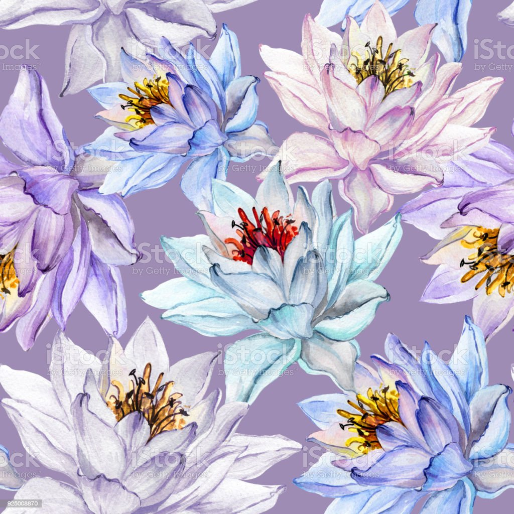 Beautiful floral seamless pattern large colorful lotus flowers on beautiful floral seamless pattern large colorful lotus flowers on lilac background hand drawn illustration mightylinksfo