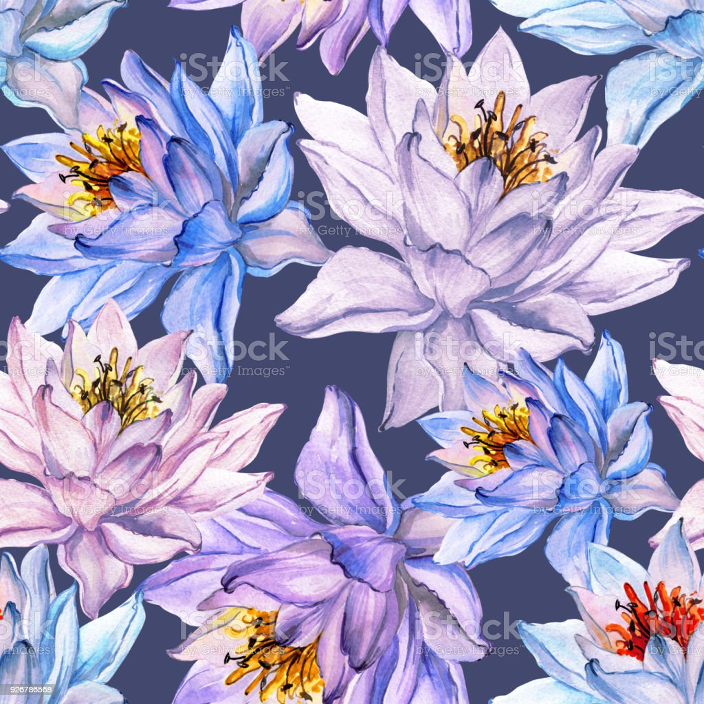 Beautiful floral seamless pattern large colorful lotus flowers on beautiful floral seamless pattern large colorful lotus flowers on gray background hand drawn illustration mightylinksfo Images