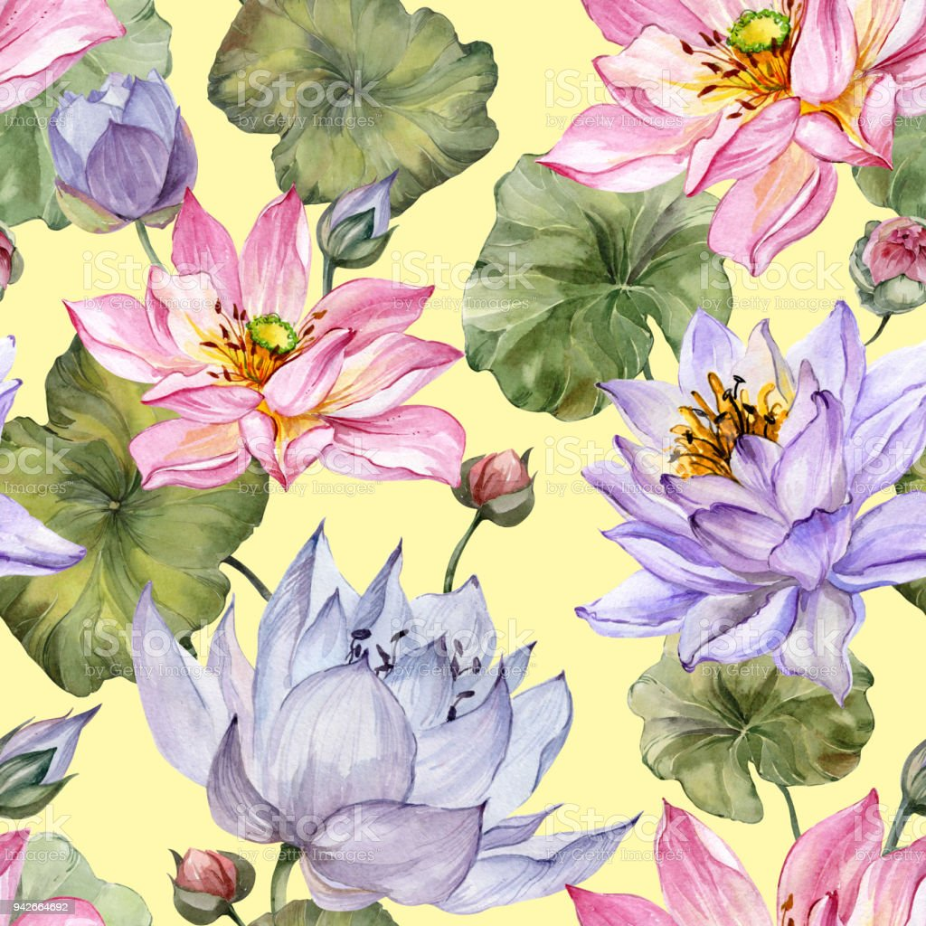 Beautiful floral seamless pattern large pink and purple lotus large pink and purple lotus flowers with leaves on yellow background izmirmasajfo