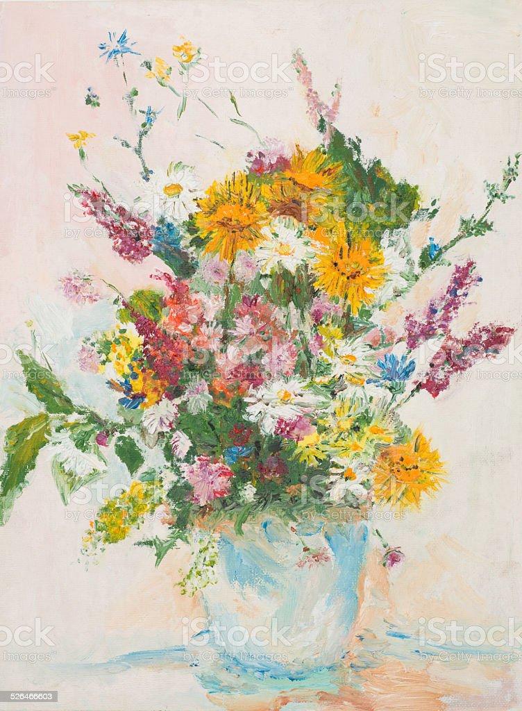 Beautiful Flower Bouquet Oil Painting stock vector art 526466603 ...
