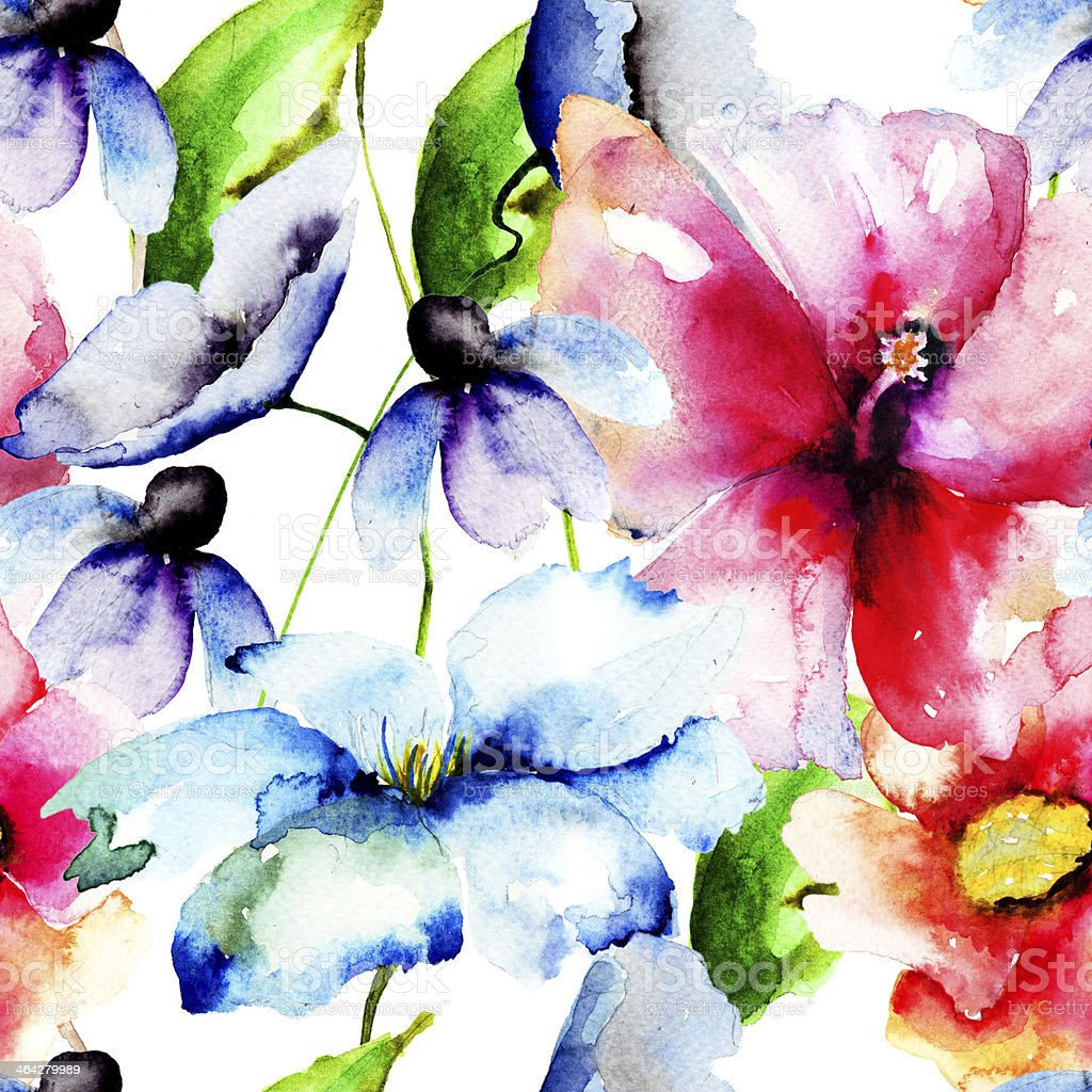 Beautiful Flowers Watercolor Painting Stock Vector Art More Images