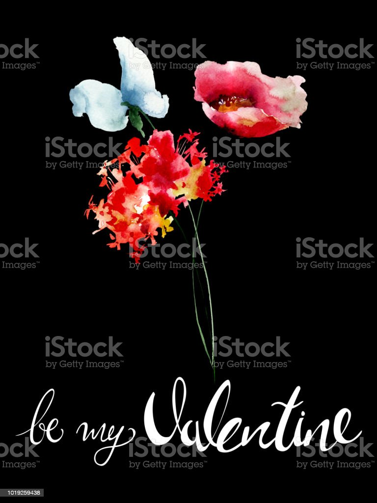 Beautiful flowers with title be my valentine stock vector art more beautiful flowers with title be my valentine royalty free beautiful flowers with title be my izmirmasajfo