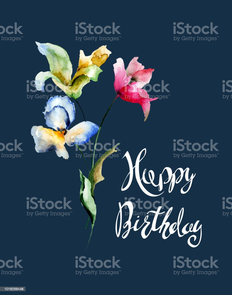 Beautiful flowers with title happy birthday stock vector art more beautiful flowers with title happy birthday royalty free beautiful flowers with title happy birthday stock izmirmasajfo
